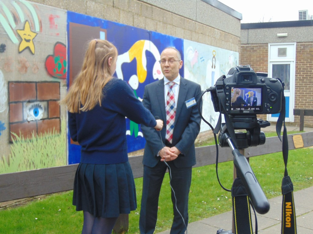 Mr Fry getting Interviewed by Reporters
